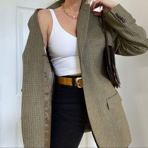 Vintage Checkered Silk Blazer Coat